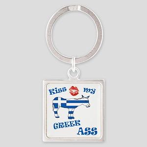 kiss my greek ass1a1 Square Keychain