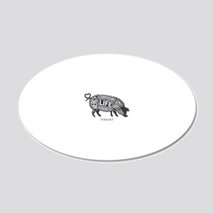 Pig-Gray 20x12 Oval Wall Decal
