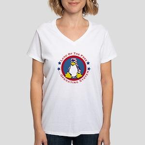 Tux - Land of the Free Women's V-Neck T-Shirt
