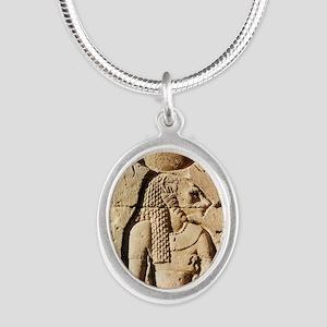 Sekhmet at Esna-shorter Silver Oval Necklace