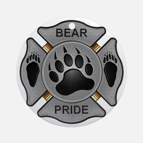 Bear Pride Firefighter Badge Round Ornament