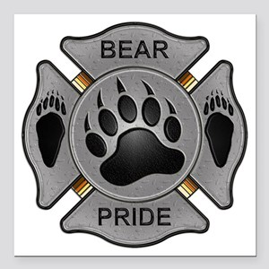 "Bear Pride Firefighter B Square Car Magnet 3"" x 3"""