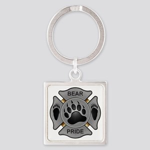 Bear Pride Firefighter Badge Square Keychain