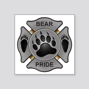 "Bear Pride Firefighter Badg Square Sticker 3"" x 3"""