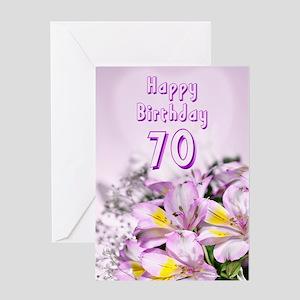 70th Birthday Card With Alstromeria Lily Flowers G