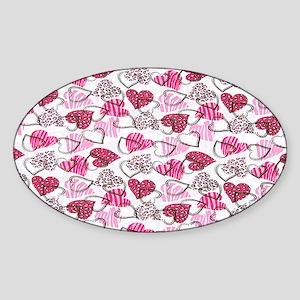 Allover Valentine Hearts copyy Sticker (Oval)