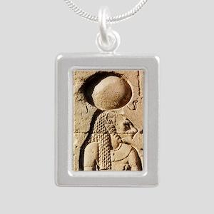 Sekhmet at Esna-sqr Silver Portrait Necklace