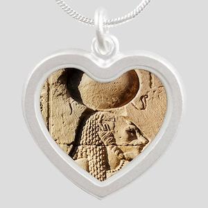 Sekhmet at Esna-sqr Silver Heart Necklace