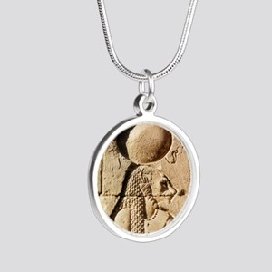 Sekhmet at Esna-sqr Silver Round Necklace
