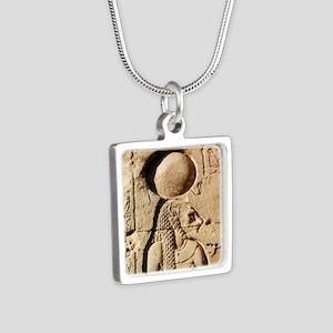 Sekhmet at Esna-sqr Silver Square Necklace