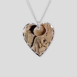 Sekhmet at Esna-sqr Necklace Heart Charm