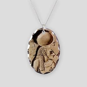 Sekhmet at Esna-sqr Necklace Oval Charm