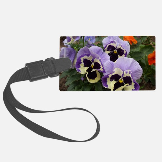 Multi Colored Pansies Large Luggage Tag