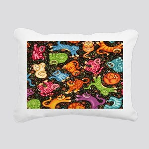 Catty Multi Cat Black co Rectangular Canvas Pillow