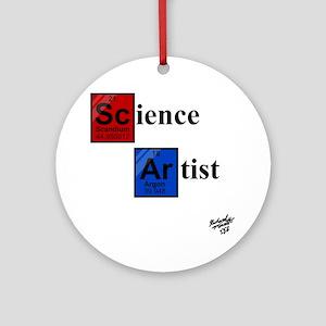 Science Artist white Round Ornament