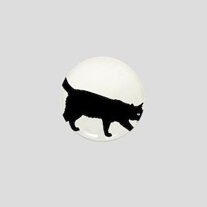 Black Cat on White Mini Button