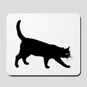Black Cat on White Mousepad
