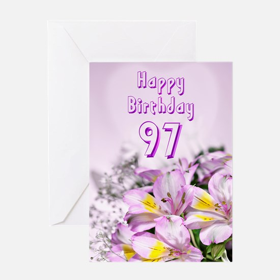 97th Birthday card with alstromeria lily flowers G