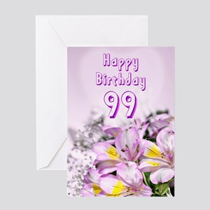 99th Birthday card with alstromeria lily flowers G