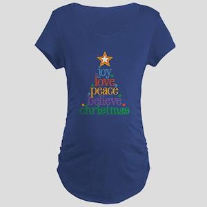 Joy Love Christmas Maternity Dark T-Shirt