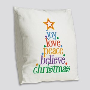 Joy Love Christmas Burlap Throw Pillow