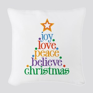 Joy Love Christmas Woven Throw Pillow