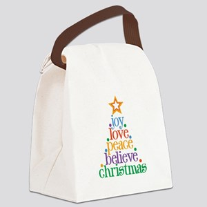 Joy Love Christmas Canvas Lunch Bag