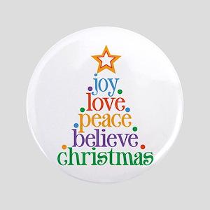 "Joy Love Christmas 3.5"" Button"
