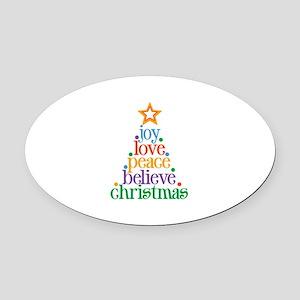 Joy Love Christmas Oval Car Magnet