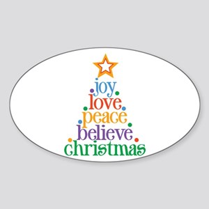 Joy Love Christmas Sticker (Oval)
