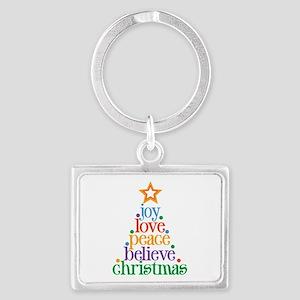 Joy Love Christmas Landscape Keychain