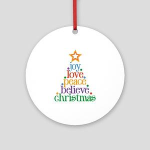 Joy Love Christmas Ornament (Round)