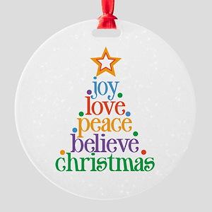 Joy Love Christmas Round Ornament