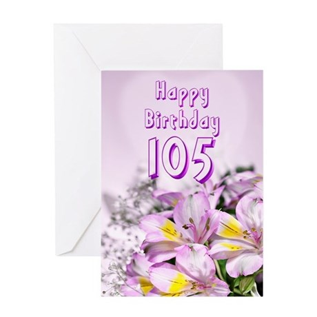 105th Birthday card with alstromeria lily flowers