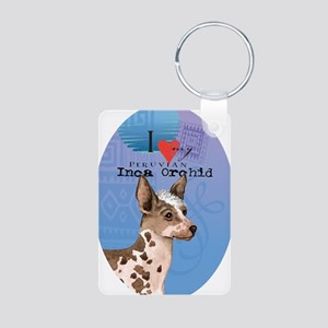 orchid-oval Aluminum Photo Keychain