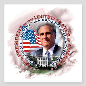 "Mitt Romney inaugural 00 Square Car Magnet 3"" x 3"""
