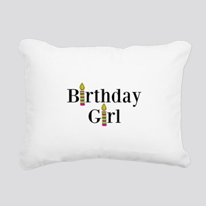 Birthday Girl Pink and Green Candles Rectangular C