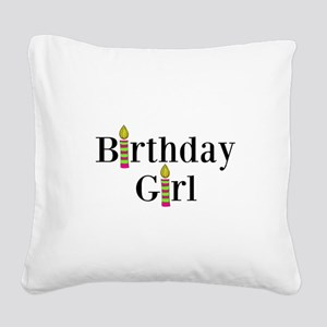 Birthday Girl Pink and Green Candles Square Canvas