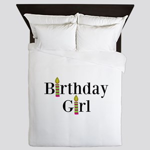 Birthday Girl Pink and Green Candles Queen Duvet