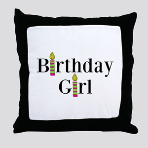 Birthday Girl Pink and Green Candles Throw Pillow