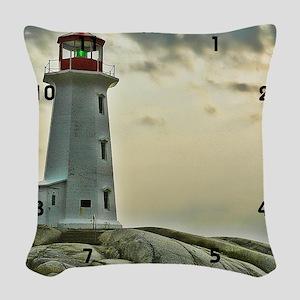 lighthouse_close_clock Woven Throw Pillow