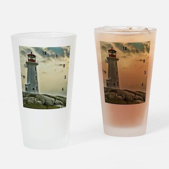 lighthouse_close_clock Drinking Glass