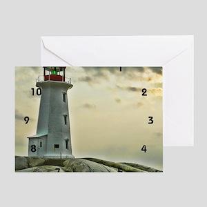 lighthouse_close_clock Greeting Card