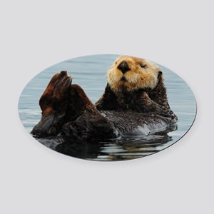 115x9_calender_otter_10 Oval Car Magnet