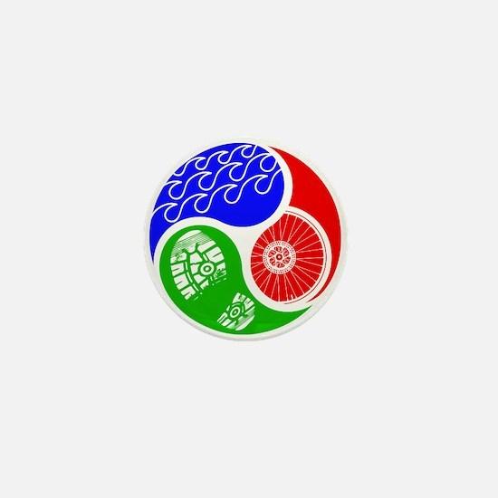 Triathlon TRI Swim Bike Run Yin Yang Mini Button