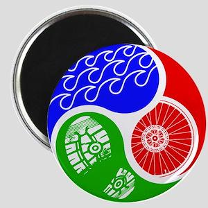 Triathlon TRI Swim Bike Run Yin Yang Magnets