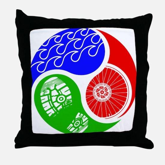 Triathlon TRI Swim Bike Run Yin Yang Throw Pillow