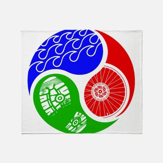 Triathlon TRI Swim Bike Run Yin Yang Throw Blanket