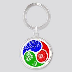 Triathlon TRI Swim Bike Run Yin Yang Keychains