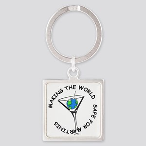 Safe Martinis 2 Square Keychain